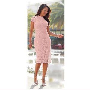 NWT Ashro Lynnelle Blush Pink Lace Bodycon Dress